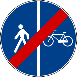 End of the divided path for pedestrians and cyclists - Road Sign