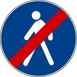End of the path for pedestrians - Road Sign