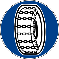 Snow chains mandatory - Road Sign