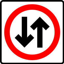 Road with two-way traffic - Road Sign