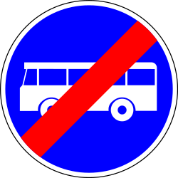 End of the lane for buses - Road Sign