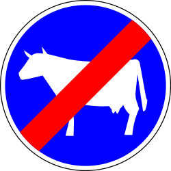 End of the path for cattle - Road Sign