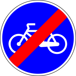 End of the path for cyclists - Road Sign