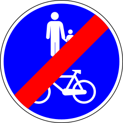 End of the shared path for pedestrians and cyclists - Road Sign