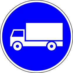 Mandatory lane for trucks - Road Sign