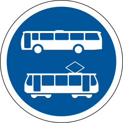 Mandatory lane for buses and trams - Road Sign