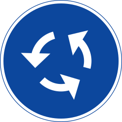 Direction of traffic on roundabout - Road Sign