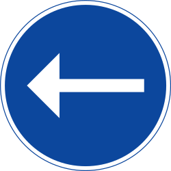Mandatory left - Road Sign