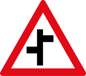 Warning for a crossroad where the roads are not opposite to each other - Road Sign