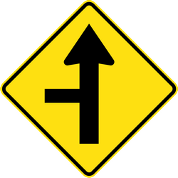 Crossroad ahead with side road to left - Road Sign