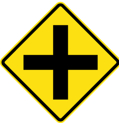 Uncontrolled crossroad ahead - Road Sign