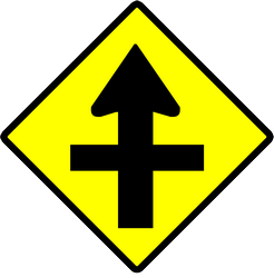 Crossroad ahead, side roads to right and left - Road Sign