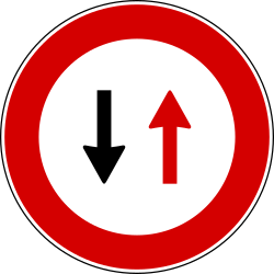 Give way to oncoming traffic, road narrows - Road Sign