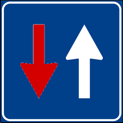 Priority over oncoming traffic, road narrows - Road Sign