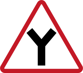 Warning for an uncontrolled Y-crossroad - Road Sign