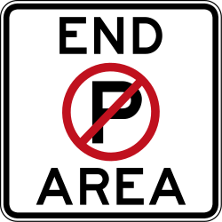 End of the zone where parking is prohibited - Road Sign