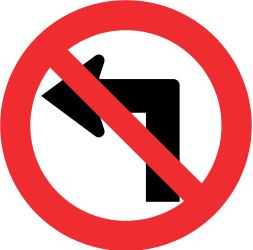 Turning left prohibited - Road Sign