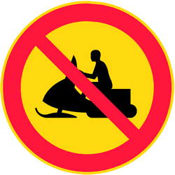 Snowmobiles prohibited - Road Sign