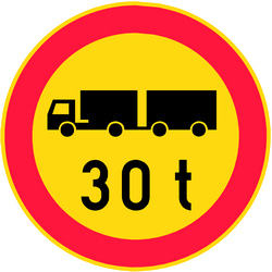 Trucks with trailer heavier than indicated prohibited - Road Sign