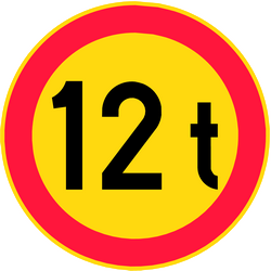 Vehicles weighing heavier than indicated forbidden - Road Sign