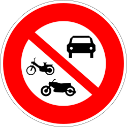 Mopeds, motorcycles and cars prohibited - Road Sign