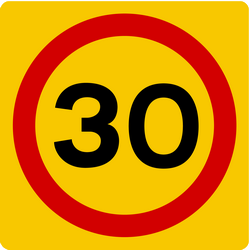 Begin of a zone with speed limit - Road Sign