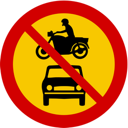 Motorcycles and cars prohibited - Road Sign