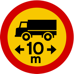 Vehicles longer than indicated length prohibited - Road Sign