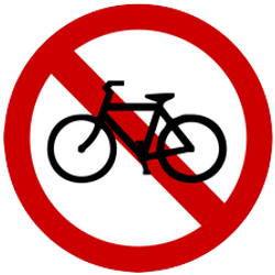 Cyclists not permitted - Road Sign