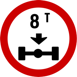 Vehicles where  axle weight heavier than indicated prohibited - Road Sign