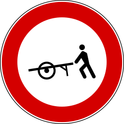 Handcarts prohibited - Road Sign