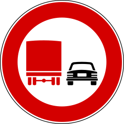 Overtaking prohibited for trucks - Road Sign