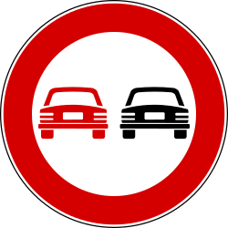 Overtaking not allowed - Road Sign