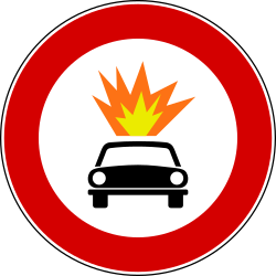 Vehicles with explosive materials prohibited - Road Sign