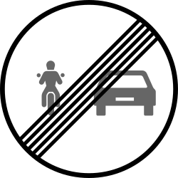 End of the overtaking prohibition for motorcycles - Road Sign