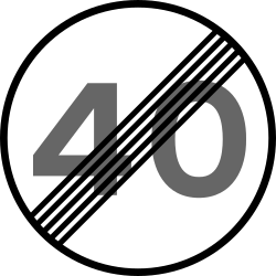 Speed limit ends - Road Sign
