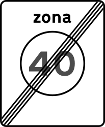 End of the zone with speed limit - Road Sign