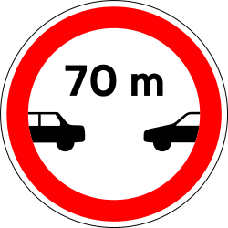 Leaving less distance than indicated prohibited - Road Sign