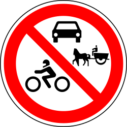 Motorcycles, cars and horse carts prohibited - Road Sign