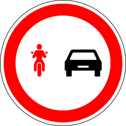 Overtaking prohibited for motorcycles - Road Sign