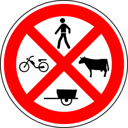 Pedestrians, mopeds, cattle and handcarts prohibited - Road Sign