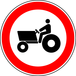 Tractors prohibited - Road Sign