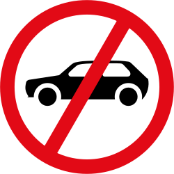 Vehicles - Cars prohibited - Road Sign