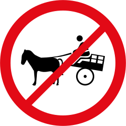 Horse carts prohibited - Road Sign