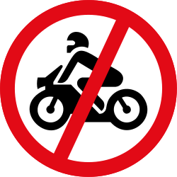 Motorbikes - Motorcycles prohibited - Road Sign