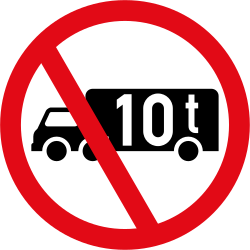 Trucks heavier than indicated prohibited - Road Sign