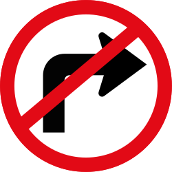Turning right prohibited - Road Sign