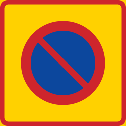 Begin of zone where parking is prohibited - Road Sign