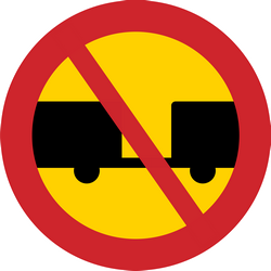Trucks with trailer prohibited - Road Sign
