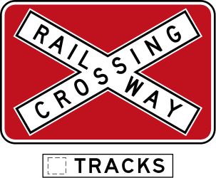 Rail crossing ahead with more than 1 railway - Road Sign
